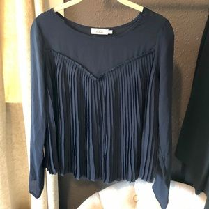 Elodie Navy Pleated Blouse